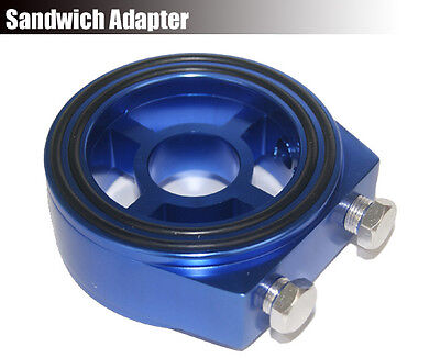 Oil Temp Filter Pressure Gauge Sensor Sandwich Adapter Plate Aluminum AN10 Blue