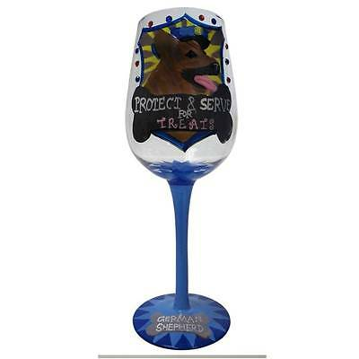 Little Gifts German Shepherd Dog Wine Glass New in Cylinder Packaging Retired