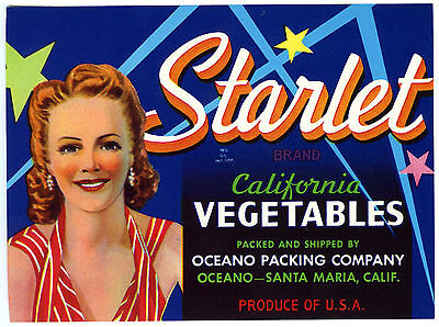 STARLET~PRETTY WOMAN~ORIGINAL 1940s SANTA MARIA CALIFORNIA VEGETABLE CRATE LABEL