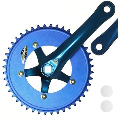 Sugino Track Fixie Road Bike Crankset Pista 44T 165mm BLUE