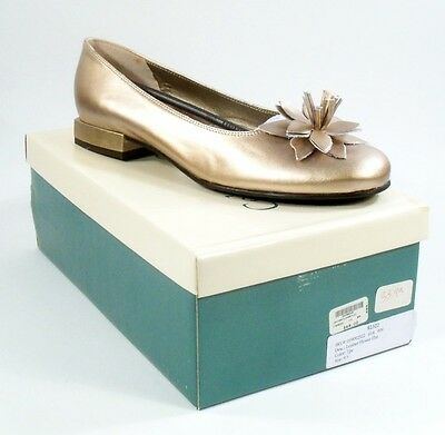 New Vintage Coldwater Creek Gold Ballet Flats w/ Flower Womens Size 9 1/2