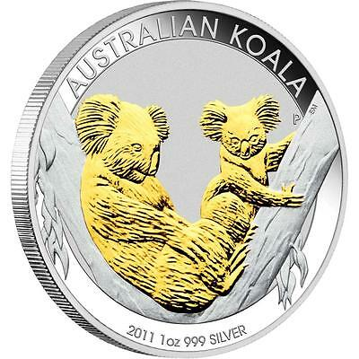 2011 Australian Gilded Koala 1oz Silver Coin issued by Perth Mint