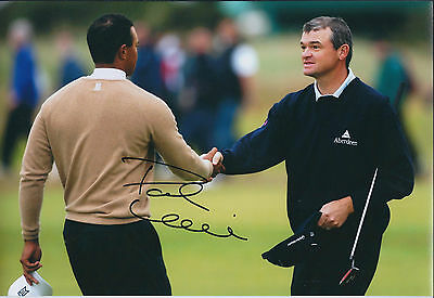 Paul LAWRIE SIGNED Autograph 12x8 Photo with Tiger Woods AFTAL COA