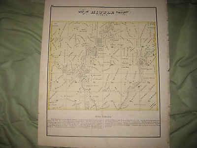 Antique 1872 Hittle Township Tazewell County Illinois Handcolored Map Rare Nr