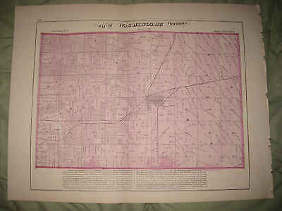HUGE ANTIQUE 1872 WASHINGTON TOWNSHIP TAZEWELL COUNTY ILLINOIS HANDCOLOR MAP NR