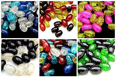 50 Pcs 10mm x 8mm Mixed Colour Oval Glass Crackle Beads Jewellery Beading