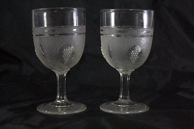 1 EAPG Boston Sandwich Glass Co Beaded Grape Medallion Goblet/Band & Base Ovals