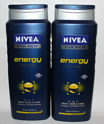 Lot Of 2 NIVEA FOR MEN Energy 3 In 1 Body, Hair & Face Wash 16.9 oz Each **