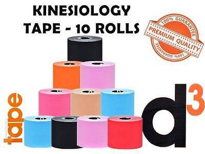 Kinesiology Sports Strapping Tape D3 Physiotherapy - 10 Rolls  (Size: 50Mm X 6M)