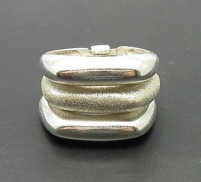 Stylish Sterling Silver Ring Triple Band Lasar Finished One 925  Size 5.5 - 10