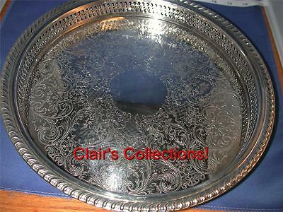 "**Pierced Chased 12.5"" Rd Silverplated Gallery Tray Gadrooned Rim, International"