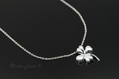 Lucky Four Leaf Clover Pendant Sterling Silver Filled Girls Ladies Necklace