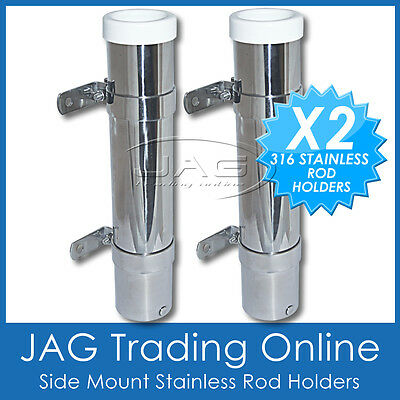 2 x 316 MARINE STAINLESS STEEL SIDE MOUNT BOAT FISHING ROD HOLDERS WHITE INSERTS