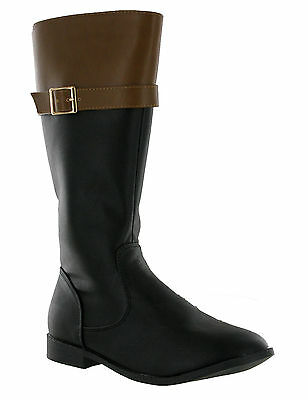 RSB Black Brown Mid Calf Riding Style Zip Up Flat Boots Size 10-4 UK