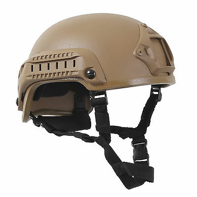 Coyote Airsoft Helmet ABS Airsoft Paintball Helmet w/NVG Mount & Accessory Rails