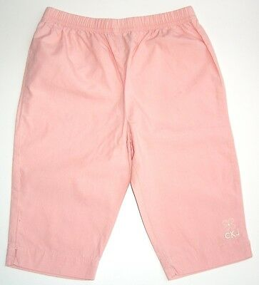 Designer CALVIN KLEIN JEANS Girls Pink Cotton 3/4 Cropped Trousers Age 4