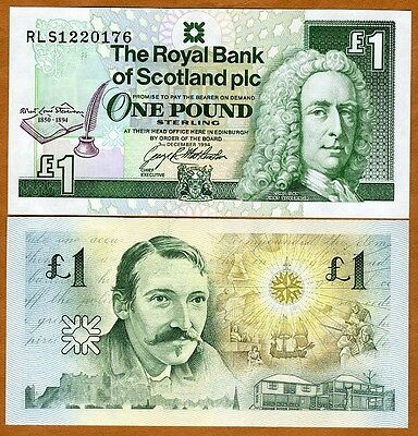 Scotland Royal Bank, 1 pound, 1994, P-358, UNC   Commemorative, Robert Stevenson