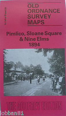 OLD Ordnance Survey  Map Pimlico Sloane Square & Nine Elms London 1894 S88  New