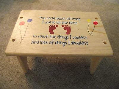 """CHILDREN STEP STOOL, """"THIS LITTLE STOOL OF MINE"""" Safe Finished, Solid Pine wood"""