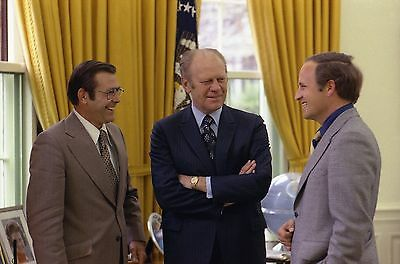 President Gerald Ford With Dick Chey And Donald Rumsfeld 8X10 Glossy Photo