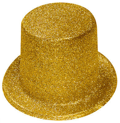 Gold Glitter Top Hat - Fancy Dress Accessories - Party - Hollywood
