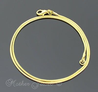 Short 40Cm Thin 1Mm 18K Yellow Gold Gp Snake Chain Ladies Mens Necklace