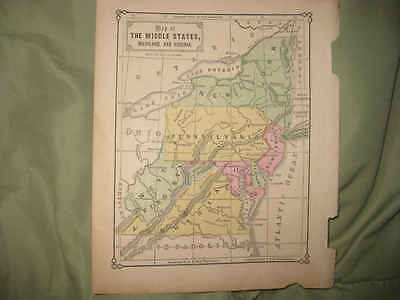 Antique 1869 New York Jersey Pennsylvania Delaware Maryland West & Virginia Map