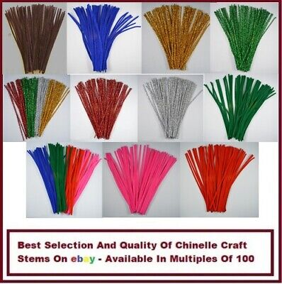 100 CHENILLE CRAFT STEMS / ARTS & CRAFTS / PIPE CLEANERS / 30cm / 12""
