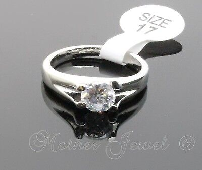 6Mm Clear Round Solitaire Cz Womens Engagement Sterling Silver Plated Ring
