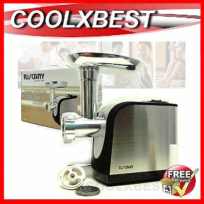 New Tuscany Electric Meat Mincer Grinder Kebbe Sausage Maker Br. Stainless Steel