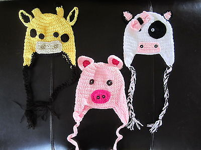 Handmade Crochet Knit Hats For Babies And Kids-Animals-Sizes 0 Months-Age 5
