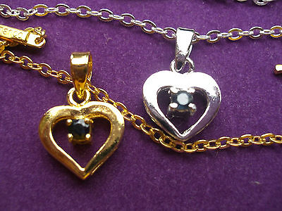 925 Sterling Silver Diamond Cut Chain Anklet,5H, Sapphire Heart Charm.claw Set