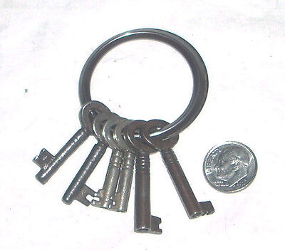 Lot of 6 Antique English Barrel Keys with Ring England