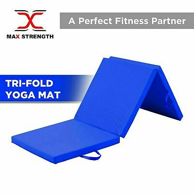 "Tri Folding Mat 2"" Thick Foam Yoga Exercise Gym Fitness 6ft X 2ft Multi Purpose"