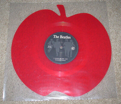 """THE BEATLES New die cut 12"""" RED APPLE vinyl LOVE ME DO / PS I LOVE YOU record"""