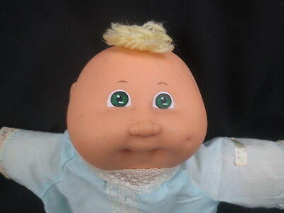 VINTAGE 1982 CABBAGE PATCH KIDS GREEN EYES BLUE PAJAMA BLONDE HAIR BABY DOLL TOY