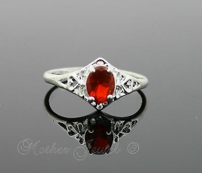 Pretty Red Love Heart Setting Cz Sterling Silver Plated Dress Ring Size 7 N