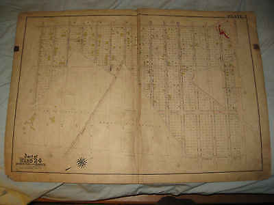 Huge Antique 1905 Bronx Ward 24 Wakefield New York City Handcolor Map Unfinished