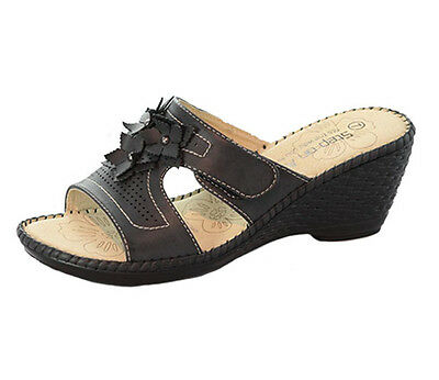 Ladies Shoes Step On Air Teisha Black Wedge Slip On Scuff Size 7,8 Flower Detail