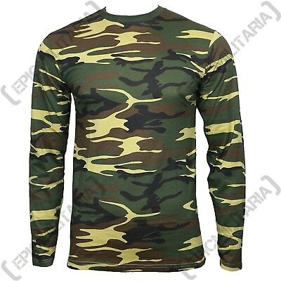 Long Sleeve WOODLAND CAMOUFLAGE T-SHIRT - All Sizes US Army Military Cotton Top