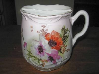 VINTAGE FLORAL DECORATED SHABBY~CHIC MUSTACHE SHAVING MUG EMBOSSED GREAT DESIGN