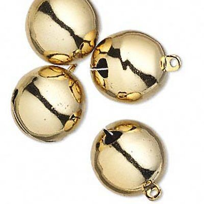 "Jingle Bells Christmas Holiday Craft Jewelry 25mm 1"" Gold Tone Brass Lot of 4"