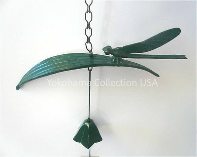 Japanese Furin Wind Chime Bell Iwachu Nambu Cast Iron Green Dragonfly/Made Japan