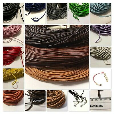 1M / 3M /10M Genuine Leather Round Thong Cord 1mm 1.5mm 2mm 3mm 4mm