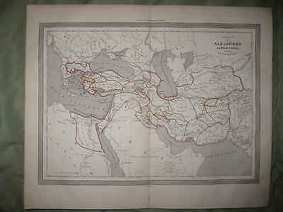 Superb Antique 1852 Alexander The Great Ancient World Map Arabia Turkey Asia Nr