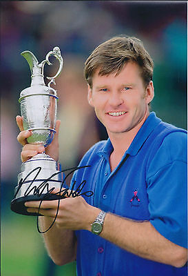 Sir Nick FALDO SIGNED 12x8 Photo AFTAL COA Autograph Open Winner St Andrews GOLF