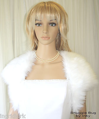 SNOW WHITE FAUX  Fake Fur BOLERO Jacket Stole Wrap BRIDAL Wedding Formal NWT !