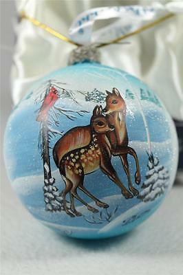 G. DeBrekht-Russian 'Deer-Cardinal Glass Ornament' Hand Painted  #73414  NIB