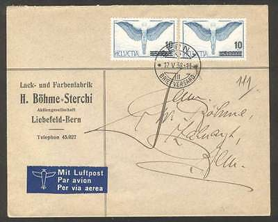 Switzerland Internal Airmail Cover 1938 w 2 Stamps L@@K