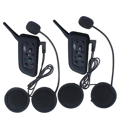 2X 6 Riders 1200M BT Motorcycle Helmet Bluetooth Headset Mic Interphone Intercom